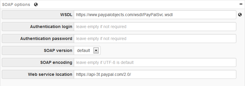 PayPal SOAP Options: Web Service location - WSDL to php